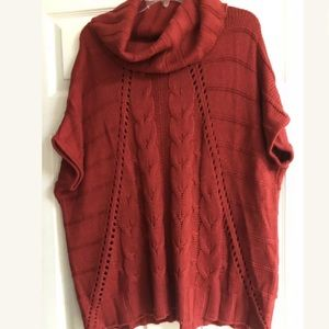 Small Red Cowl Neck Sweater with Short Sleeves